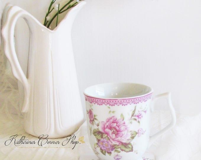 Featured listing image: Pink Peonies Tea Mug  Set