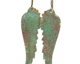 Hand Painted Angel Wings earrings, green, gold, red  brass ear wires