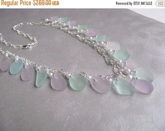 SEA GLASS SALE Sea Glass Necklace - Amethyst and Seafoam Beach Glass Necklace - Sea Glass - Beach Glass Jewelry - Ocean Necklace - Sea Glass