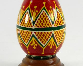 Polish Pysanky Egg Hand Painted Decorated Vintage Easter Blown Out Chicken Egg 20712