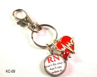 RN Key Chain, Nurse Keyring, Nurse Key ring, Beaded Purse Charm, Lanyard Key Ring, Key Chain, Womens Key Ring, Nurse Key Chain