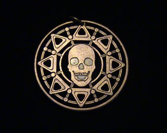 BRAND NEW - Skull and Compass - Copper medallion - cut coin pendant - ReAL DeAL!!