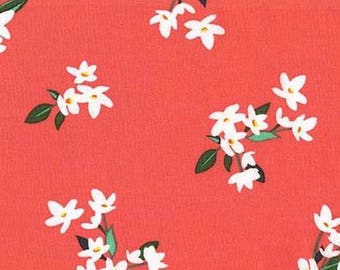 One (1) Yard - Lily-of-the-Valley White flowers print Michael Miller Fabrics  CX7144-CORA-D Coral