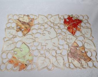 Fall Orange Maple Leaves Placemat Embroidered on Ivory Fabric Various sizes