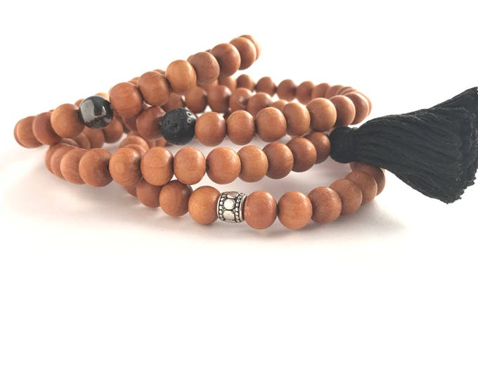 men's 27 sandalwood mala bracelet