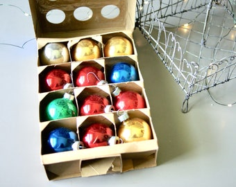 Vintage Christmas Tree Ornaments by Paragon Multi Colored Glass Balls in Original Box Retro Holiday Decorations