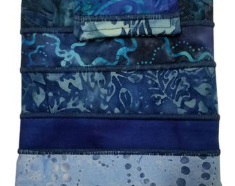 Nook or Kindle Fire Ipad Mini Sleeve in Blue Batik Fabrics Back to School