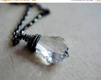 Summer Sale Crystal Necklace, Swarovski Crystal, Crystal Jewelry, Clear Crystal, Sterling Silver, Transparent, PoleStar, Wire Wrapped, Sterl