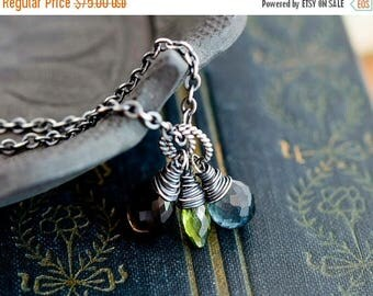 Gemstone Necklace, Moss Aquamarine, Aquamarine Necklace, March Birthstone, Smokey Quartz, Sterling Silver, Vesuvianite Pendant, PoleStar