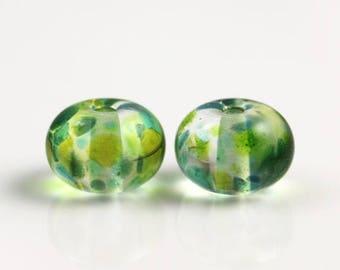 10% OFF SALE Green Lampwork Beads - Pair - Lampwork Beads - 13x9mm