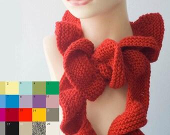 Knit Ruffle Scarf, Custom Chose Color, Vegan Ruffled Scarf, Spring Scarf, Summer Scarf