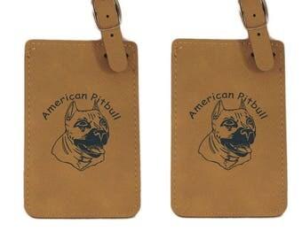 American Pitbull Head Luggage Tag 2 Pack L1193 - Free Shipping