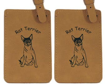 Rat Terrier Sitting Luggage Tag 2 Pack L3803
