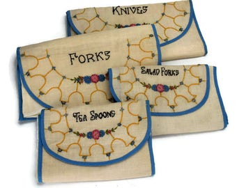 Embroidered Silverware Rolls, Charming Flatware Storage for Forks, Knives, Tea Spoons, Linen and Chamois