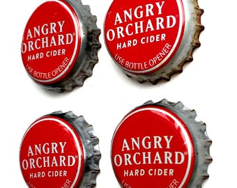 Hard Cider Bottle Top Magnets, Angry Orchard Magnets, Red Refrigerator Magnets, Apple Cider Bottle Cap Magnets, Dorm Magnets, Cider Magnets