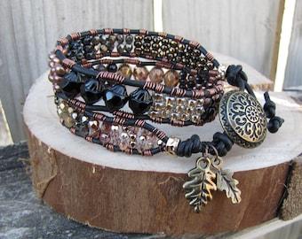 Earthy double wrap Bracelet, Beaded leather bracelet,Black,copper,gold bracelet,beaded leather wrap,boho bracelet