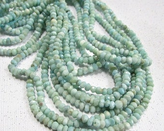 20% Off OUT Of TOWN SALE Natural Larimar Beads 4mm Rondelle, Natural Blue Gemstone , Qty1 Strand