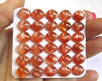 OUT of TOWN SALE Flashy Sunstone Cabochon 10mm 12mm Marquise, Very Chatoyant  Natural Sunstone