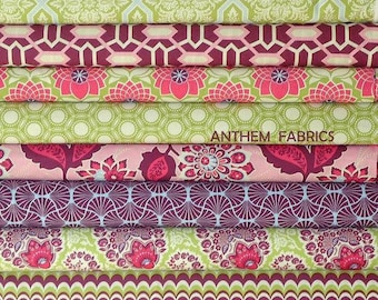 Joel Dewberry Heirloom cotton fabric fat quarter set of 10, Sapphire palette