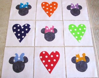 "Set of 9 Minnie Mouse w/Bows  and Hearts 6"" x 6""  Cotton Quilt Blocks"