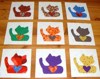"Set of 9  Bright Fat Cats with Hearts  6"" x 6""  Cotton Quilt Blocks"