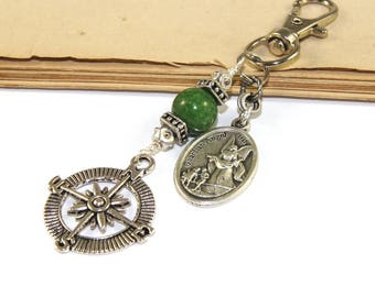 Guardian Angel Travel Clip with Compass Charm, Bag Dangle, Keychain - Farewell Gift