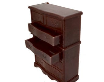 Renwal dresser B-85 chest of drawers miniature dollhouse furniture 1950s  plastic brown bureau with moveable drawers
