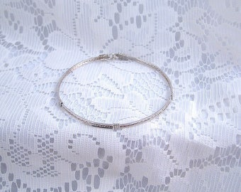 Set of 3 Sterling silver bangle wire wrapped bracelets