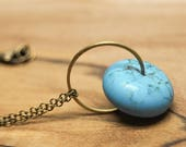Turquoise Hoop Necklace -- Modern Circle Pendant -- Brass Ring & Chalk Turquoise Bead -- Long Antique Brass Chain -- UK Shop