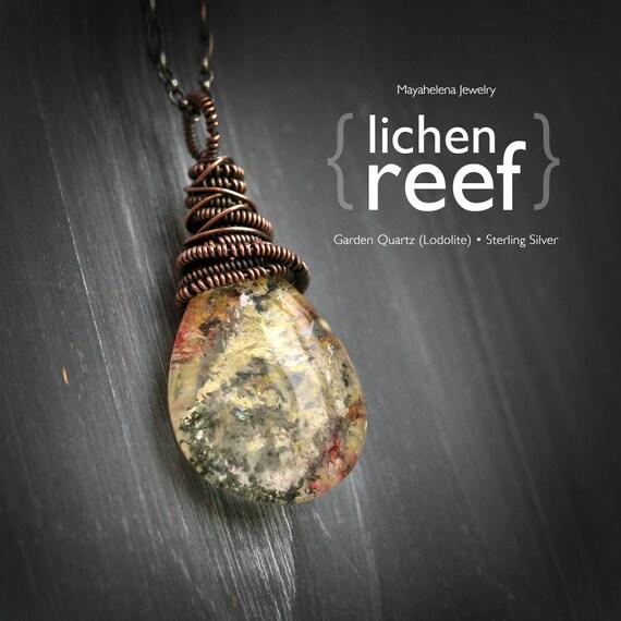 Lichen Reef - Lodolite Quartz Crystal Wire Wrapped Sterling Silver Necklace