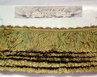 "Gorgeous Acid Green Passementerie 100% Silk Fringe Trim From Vintage Silk Drapes 2.75"" Long x 5.9 Yards In 2 Pieces"