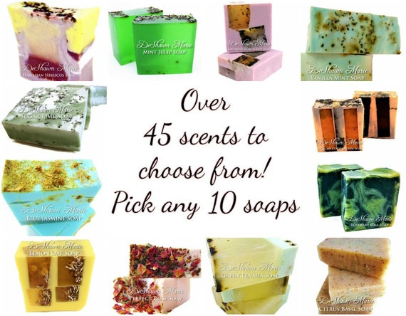 10 handmade soaps, Christmas Soap Gifts, Stocking Stuffers, Soap Gift Set, Vegan Soap, Natural Soap, Soap Gift, Hostess Gift, Holiday Gifts