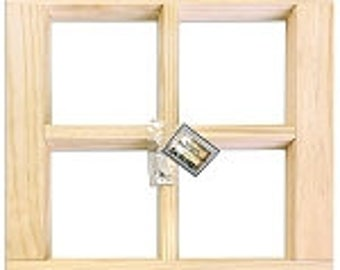 "Wood Window Frame - Natural Wood 16""X16"""