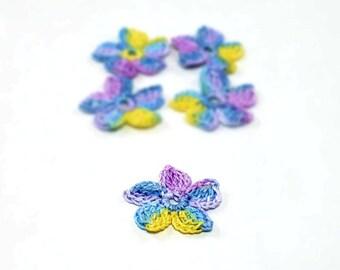 Crochet Applique Mini Flower Motif Flower Embellishment Crochet Flower Applique Crochet Motif Blue Purple Yellow Crochet Flower Motif