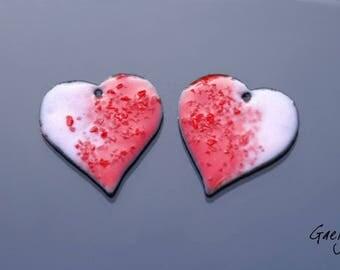 """Email - Paire de plaque """" coeur"""" en cuivre émaillé - motif coeur rose et rouge -  Emaux Gaelys"""