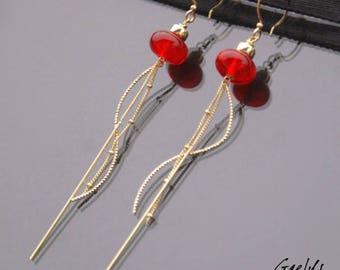 Rivière - boucles d'oreille perles rondelles rouge transparent - Gold filed - bo gaelys