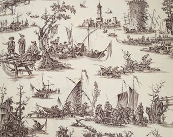 French vintage toile w fishing scenes