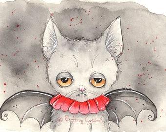 Happy Bat Cat Fine Art Print