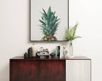 Pineapple Print, Tropical Fruit Art, Minimal Kitchen Wall Decor - Pineapple Top