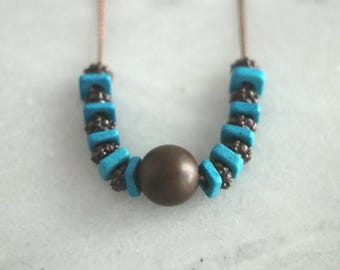 50%OFF Antiqued Copper and Turquoise Necklace, Ceramic Beads, Mediterranean, Bohemian