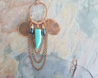Etched Copper Charm Necklace, Turquoise Blue Talon, Black Spinel Briolettes, Boho, Bohemian, Wire Wrapped