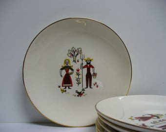 6 Farmer and Wife Bread and Butter or Dessert Plates