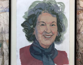 Hand painted portrait of Margaret Atwood, published in TIME Magazine - framed