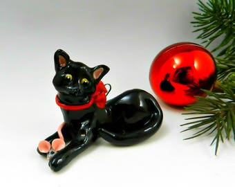 Black Cat Christmas Ornament Figurine with Toy Mouse Porcelain