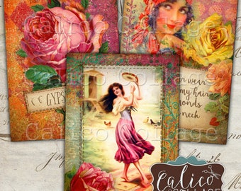 Gypsy Love, Digital Tags, Junk Journal, Vintage Gypsy, Printable Tags, Digital, Collage Sheet, Printable Download, Digital Collage, ATC Size