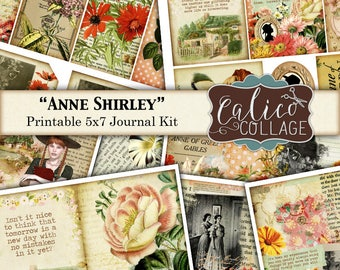 Anne Shirley, Journal Kit, Printable, Journal Pages, Anne of Green Gables, Junk Journal Kit, Digital Paper, Vintage Flowers, Ephemera