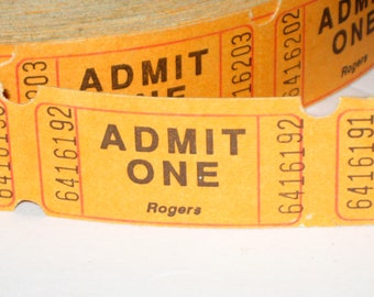 50 Orange Admit One Tickets for Crafting, Card Making, Scrapbooking, etc.