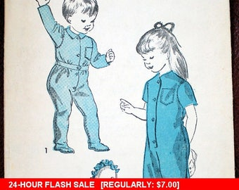 Flash SALE!!! Vintage Advance sewing pattern #4443; Child's size 2; Pajamas in different versions; Unprinted; Complete-from 40s or