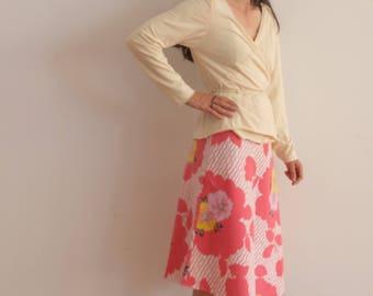 Pink Bloom / bias skirt