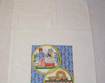 ON SALE Vintage Towel Dutch Boy & Girl w Kitchen Shelves